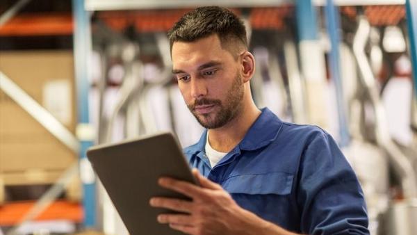 Technician using a tablet